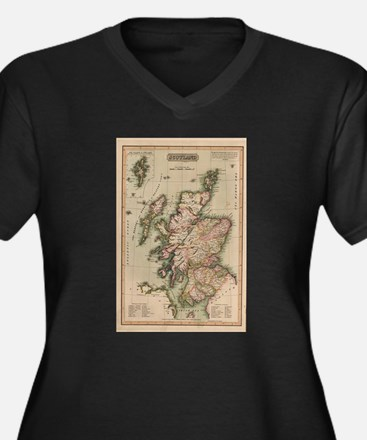 Vintage Map of Scotland (1814) Plus Size T-Shirt