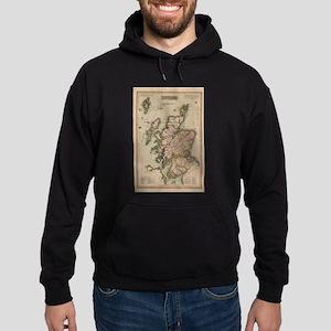Vintage Map of Scotland (1814) Hoodie (dark)