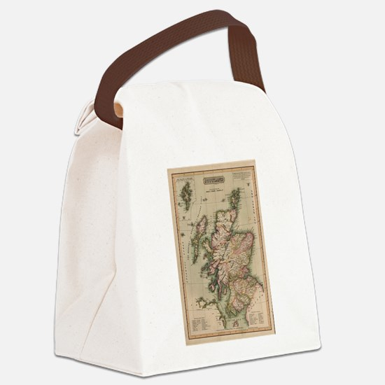 Vintage Map of Scotland (1814) Canvas Lunch Bag