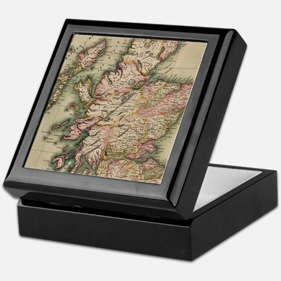 Vintage Map of Scotland (1814) Keepsake Box