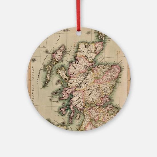 Vintage Map of Scotland (1814) Ornament (Round)