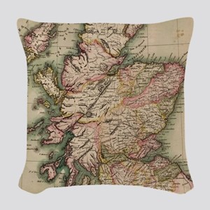 Vintage Map of Scotland (1814) Woven Throw Pillow