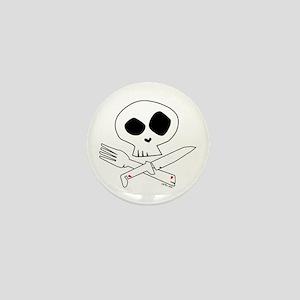White Foodie Skull Mini Button