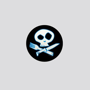Blue Foodie Skull Mini Button