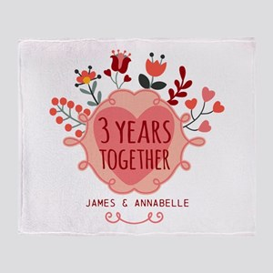 Personalized 3rd Anniversary Throw Blanket