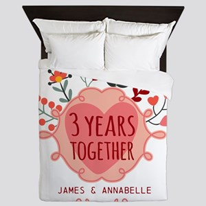 Personalized 3rd Anniversary Queen Duvet