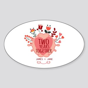 Personalized Gift for 2nd Anniversa Sticker (Oval)
