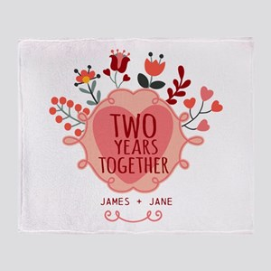 Personalized Gift for 2nd Anniversar Throw Blanket