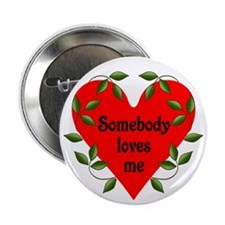 Somebody Loves Me Valentines Button
