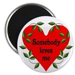 "Somebody Loves Me Valentines 2.25"" Magnet (10"