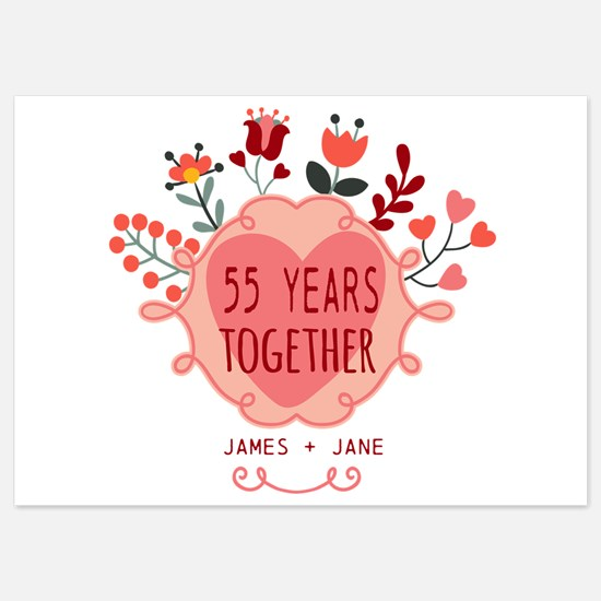 Custom Year and Name Anniversary 5x7 Flat Cards