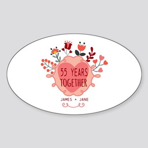 Custom Year and Name Anniversary Sticker (Oval)