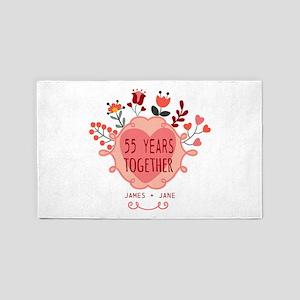 Custom Year and Name Anniversary Area Rug