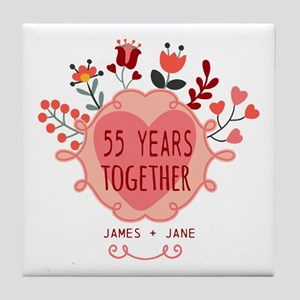 Custom Year and Name Anniversary Tile Coaster