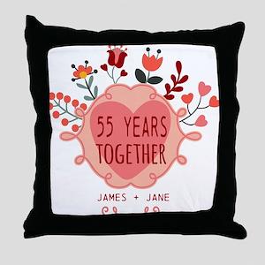 Custom Year and Name Anniversary Throw Pillow