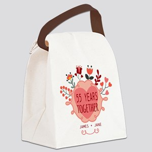 Custom Year and Name Anniversary Canvas Lunch Bag