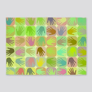 Multicolored hands pattern 5'x7'Area Rug