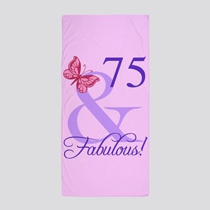 Fabulous 75th Birthday Beach Towel