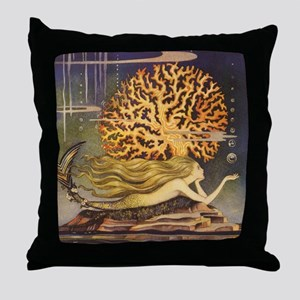 Vintage Mermaid Throw Pillow