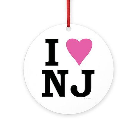 I LOVE NJ (Pink Heart) Ornament (Round)