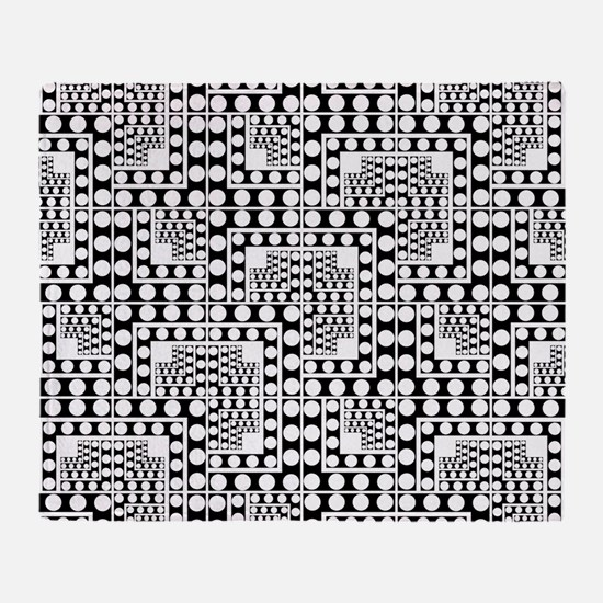 Crazy Dots black and white Throw Blanket