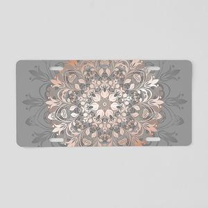 Rose Gold Gray Floral Manda Aluminum License Plate