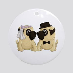 Wedding Pugs Ornament (Round)
