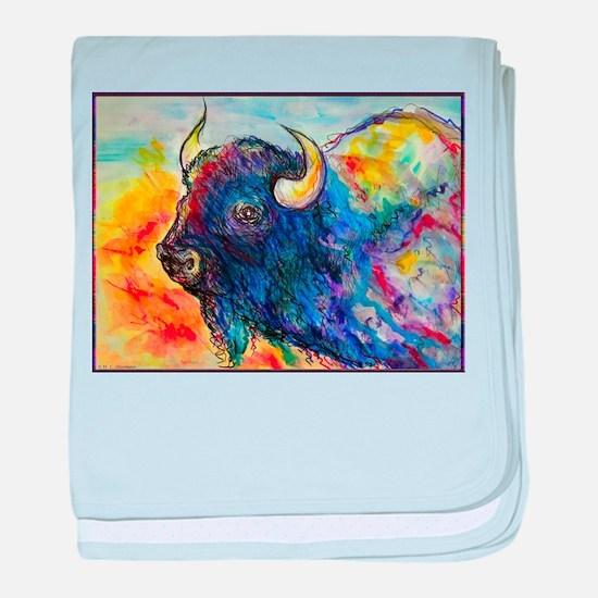 Colorful buffalo, southwest art baby blanket