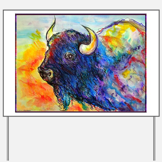 Colorful buffalo, southwest art Yard Sign