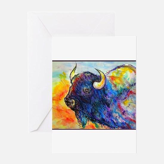 Colorful buffalo, southwest art Greeting Cards
