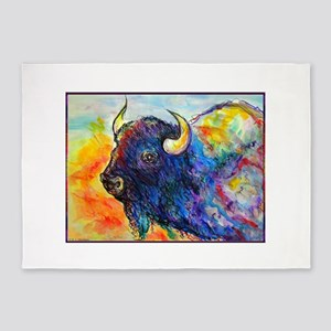 Colorful buffalo, southwest art 5'x7'Area Rug