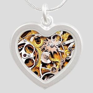 Steampunk Gears Silver Heart Necklace