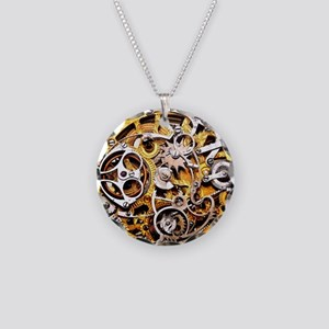 Steampunk Gears Necklace Circle Charm