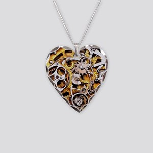 Steampunk Gears Necklace Heart Charm