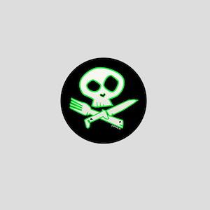Green Foodie Skull Mini Button