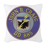 USS JOHN R. CRAIG Woven Throw Pillow