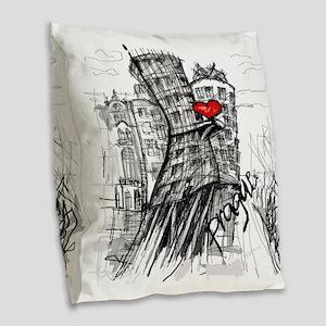 I love Prague Burlap Throw Pillow