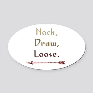 Nock, Draw, Loose. Oval Car Magnet