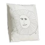 Samurai Sunflower Burlap Throw Pillow