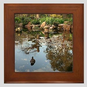 Himeji Japanese garden pond with duck Framed Tile