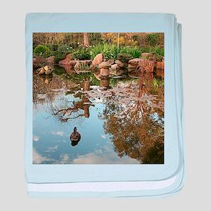 Himeji Japanese garden pond with duck baby blanket