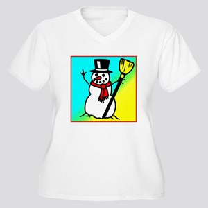 Snowman says I Love You in AS Women's Plus Size V-