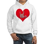 Mom and Baby ILY in Heart Hooded Sweatshirt