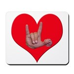 Mom and Baby ILY in Heart Mousepad