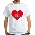 Mom and Baby ILY in Heart White T-Shirt