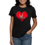 Mom and Baby ILY in Heart Women's Dark T-Shirt