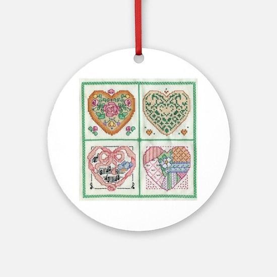 4-Hearts Cross-Stitch Ornament (Round)