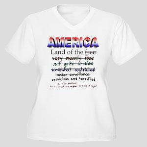 Not Quite Freedom Women's Plus Size V-Neck T-Shirt