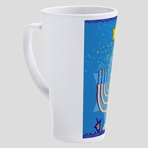 hanukkah menorah 17 oz Latte Mug