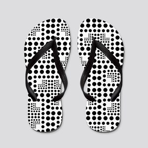 Crazy Dots black and white Flip Flops